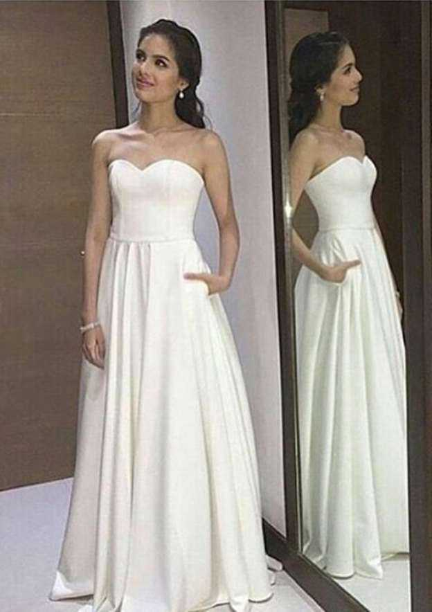 A-Line/Princess Sweetheart Sleeveless Long/Floor-Length Elastic Satin Wedding Dress