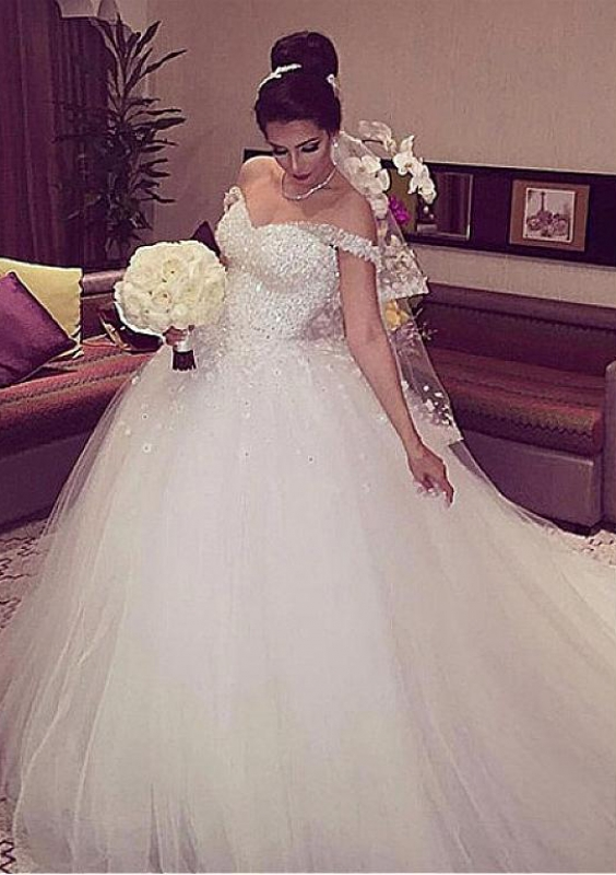 Ball Gown Off-The-Shoulder Sleeveless Chapel Train Tulle Wedding Dress With Beading Flowers