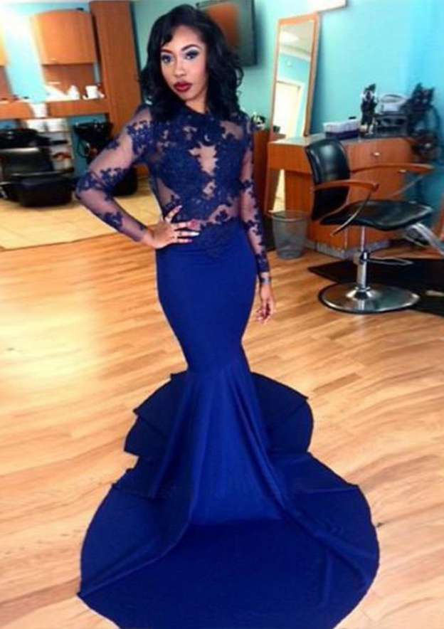 Trumpet/Mermaid Scoop Neck Full/Long Sleeve Court Train Satin Prom Dress With Appliqued