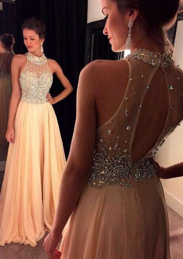 A-Line/Princess High-Neck Sleeveless Sweep Train Chiffon Prom Dress With Rhinestone Beading