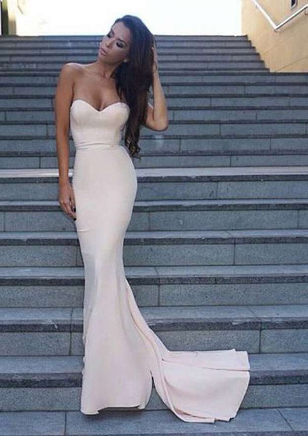 Trumpet/Mermaid Sweetheart Sleeveless Sweep Train Elastic Satin Prom Dress