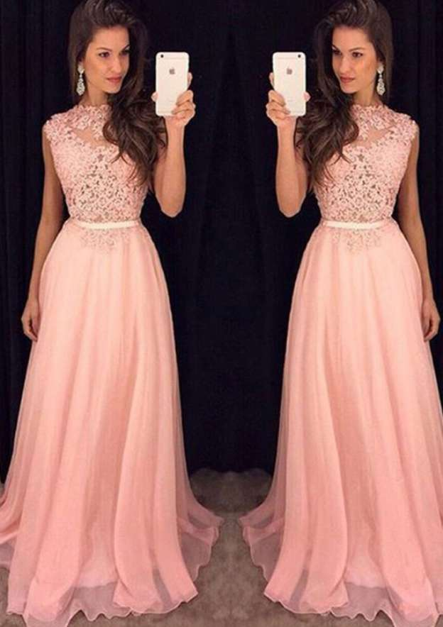 A-Line/Princess Scoop Neck Sleeveless Long/Floor-Length Chiffon Prom Dress With Lace