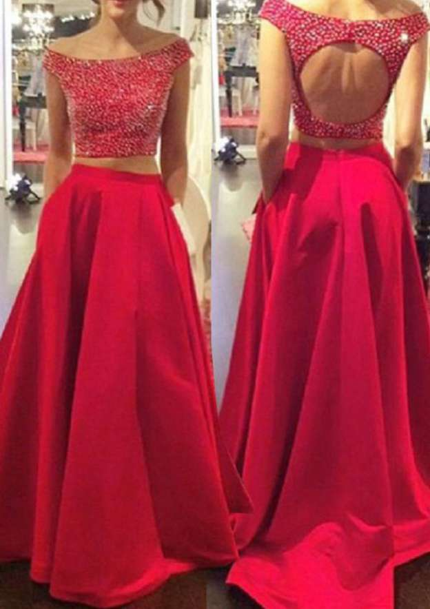A-Line/Princess Off-The-Shoulder Sleeveless Sweep Train Satin Prom Dress With Crystal Detailing