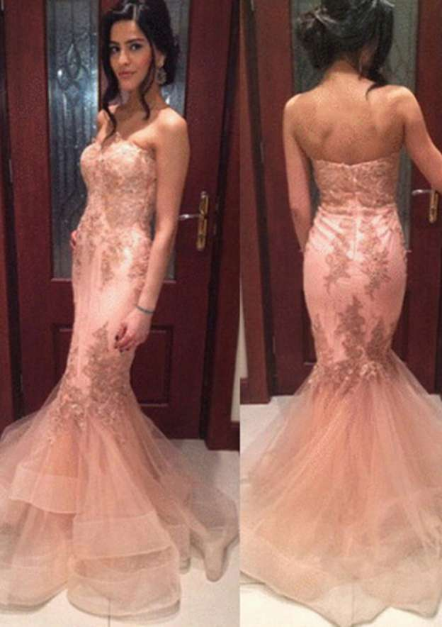 Trumpet/Mermaid Sweetheart Sleeveless Sweep Train Tulle Prom Dress With Appliqued