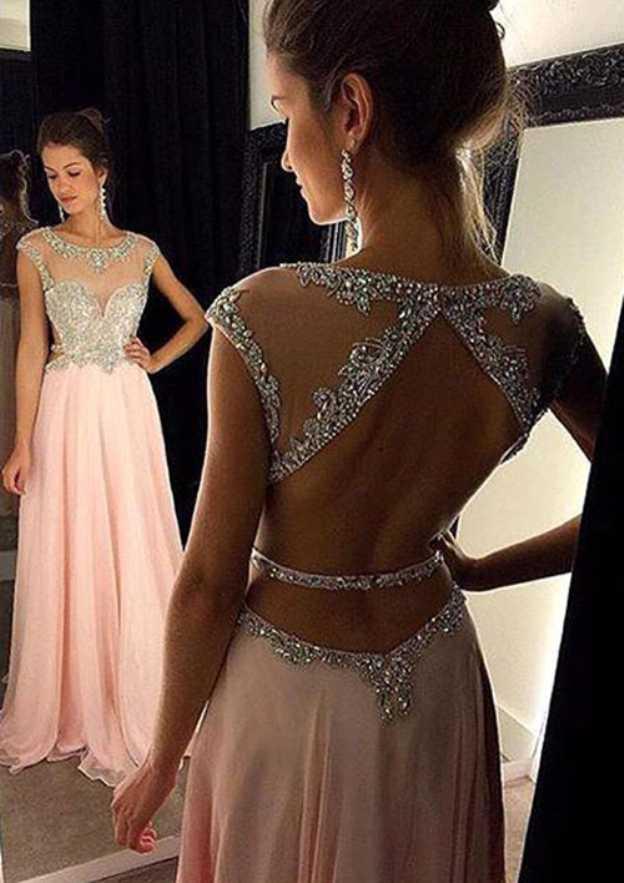 A-Line/Princess Scoop Neck Sleeveless Sweep Train Chiffon Prom Dress With Rhinestone Beading