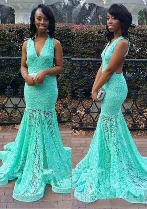 Trumpet/Mermaid V Neck Sleeveless Court Train Lace Prom Dress