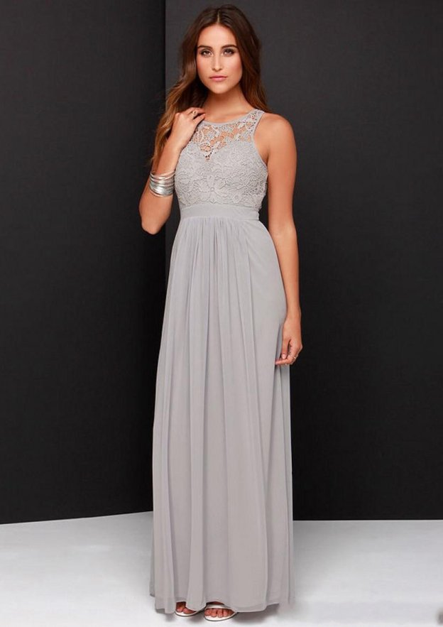 A-Line/Princess Scoop Neck Sleeveless Long/Floor-Length Chiffon Bridesmaid Dress With Lace