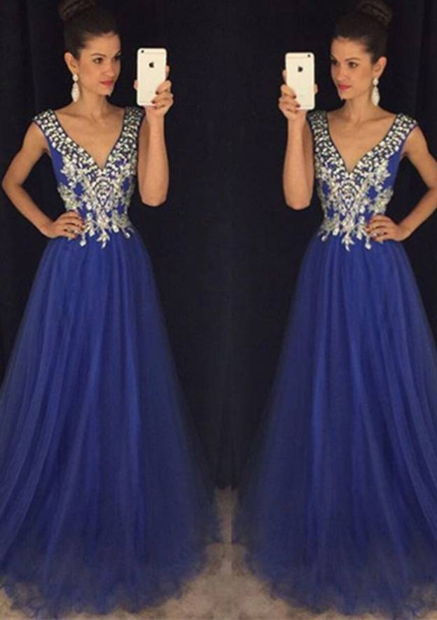 A-Line/Princess V Neck Sleeveless Sweep Train Tulle Prom Dress With Rhinestone