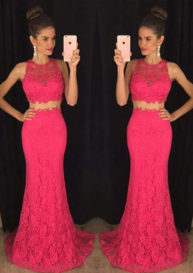 Trumpet/Mermaid Scoop Neck Sleeveless Sweep Train Lace Prom Dress