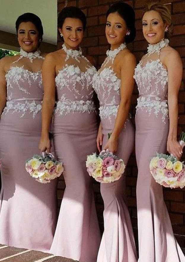 Trumpet/Mermaid High-Neck Sleeveless Sweep Train Elastic Satin Bridesmaid Dress With Appliqued