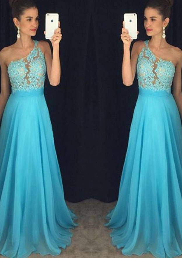 A-Line/Princess One-Shoulder Sleeveless Sweep Train Chiffon Prom Dress With Appliqued