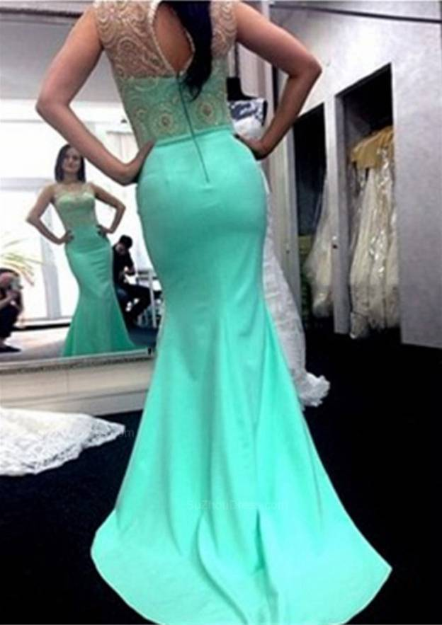 Trumpet/Mermaid Scoop Neck Sleeveless Sweep Train Charmeuse Prom Dress With Lace