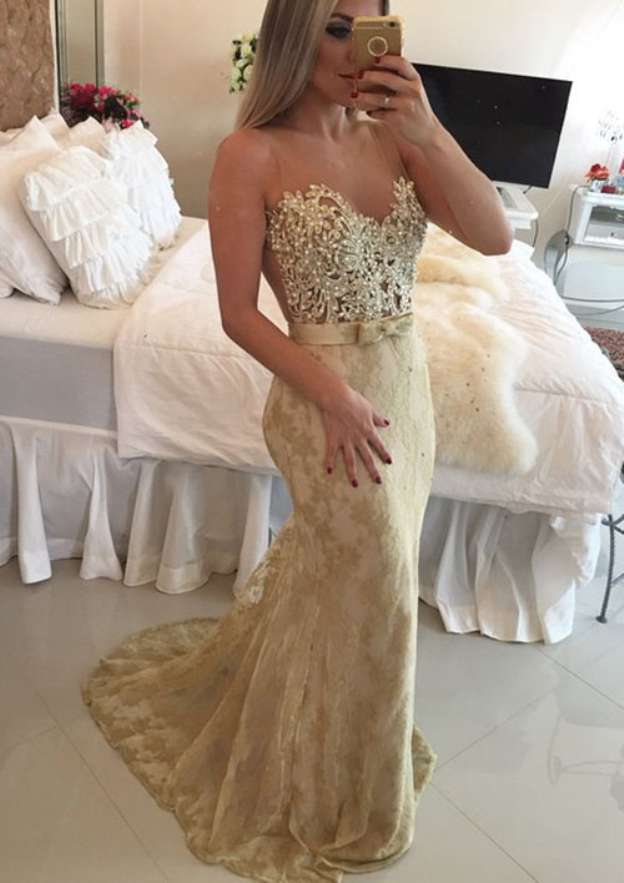 Trumpet/Mermaid Scoop Neck Sleeveless Sweep Train Lace Prom Dress With Bowknot Appliqued Beading