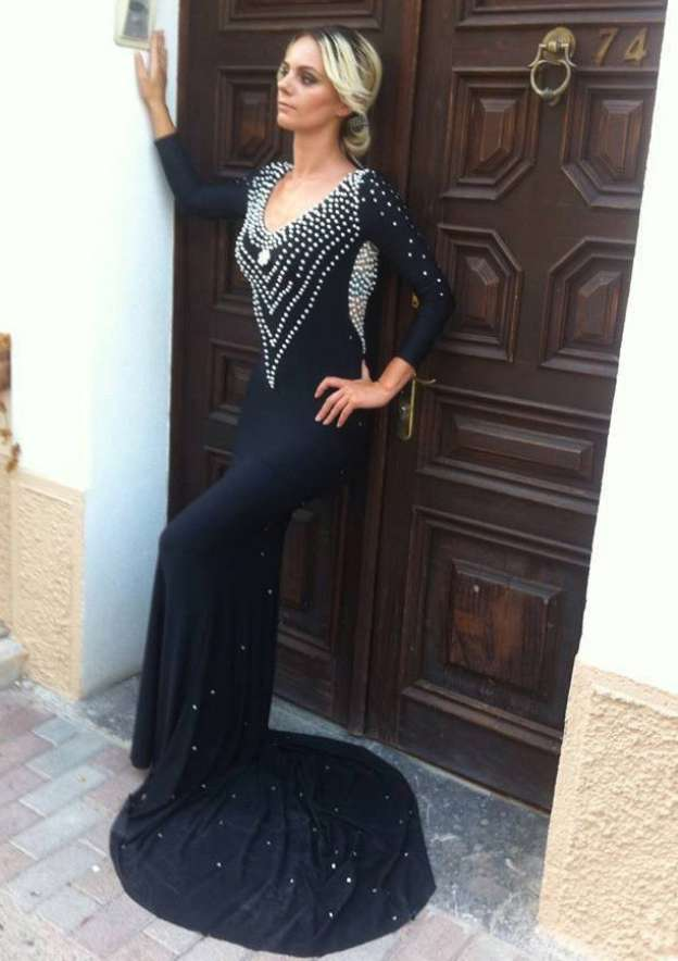 Sheath/Column Scoop Neck Full/Long Sleeve Court Train Jersey Evening Dress With Crystal Detailing