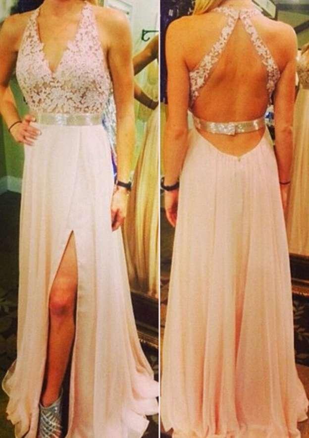 A-Line/Princess V Neck Sleeveless Sweep Train Chiffon Prom Dress With Split Appliqued