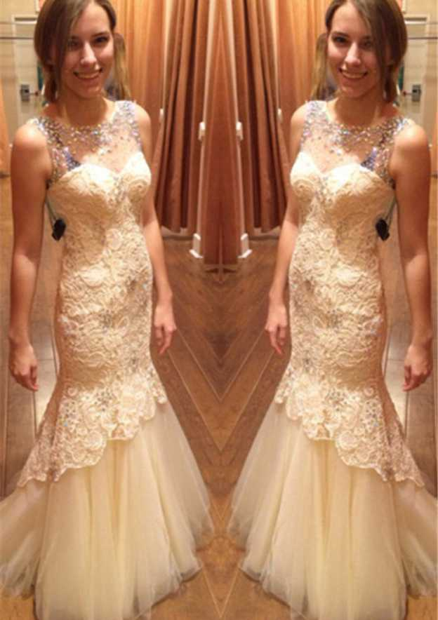 Trumpet/Mermaid Scoop Neck Sleeveless Sweep Train Tulle Prom Dress With Rhinestone Appliqued Lace