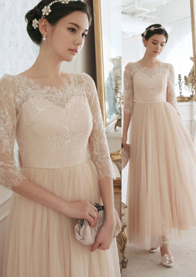 A-Line/Princess Scalloped Neck 3/4 Sleeve Ankle-Length Tulle Prom Dress With Bowknot Lace