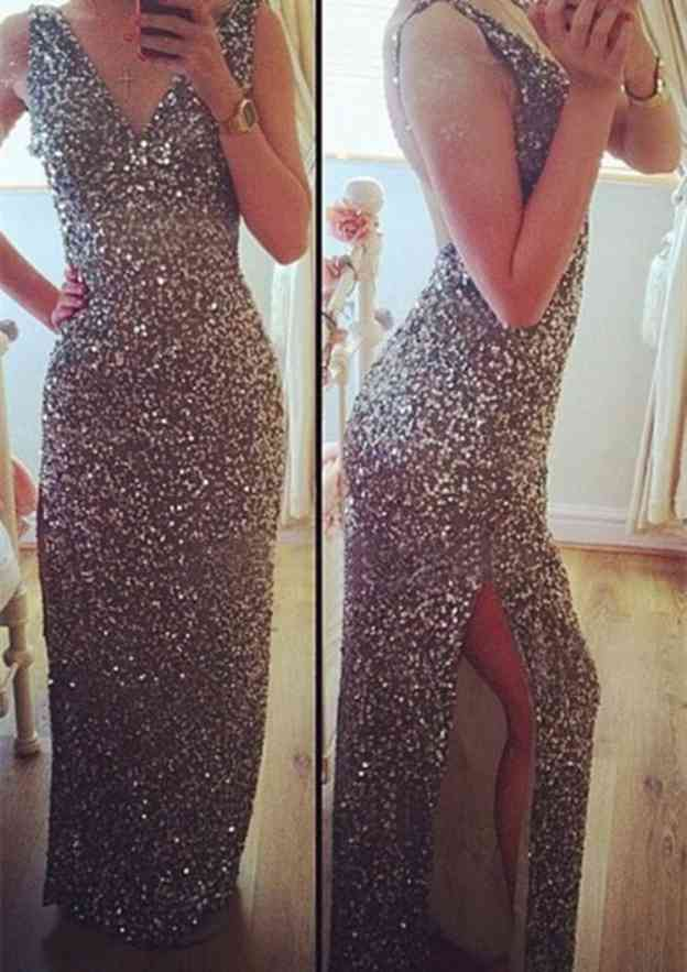 Sheath/Column V Neck Sleeveless Long/Floor-Length Sequined Prom Dress