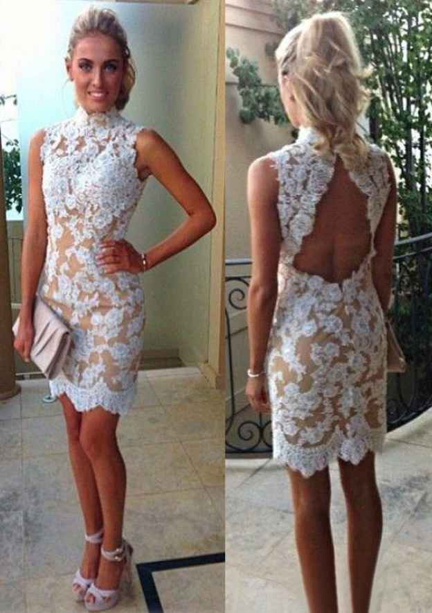 Sheath/Column High-Neck Sleeveless Knee-Length Lace Cocktail Dress With Appliqued