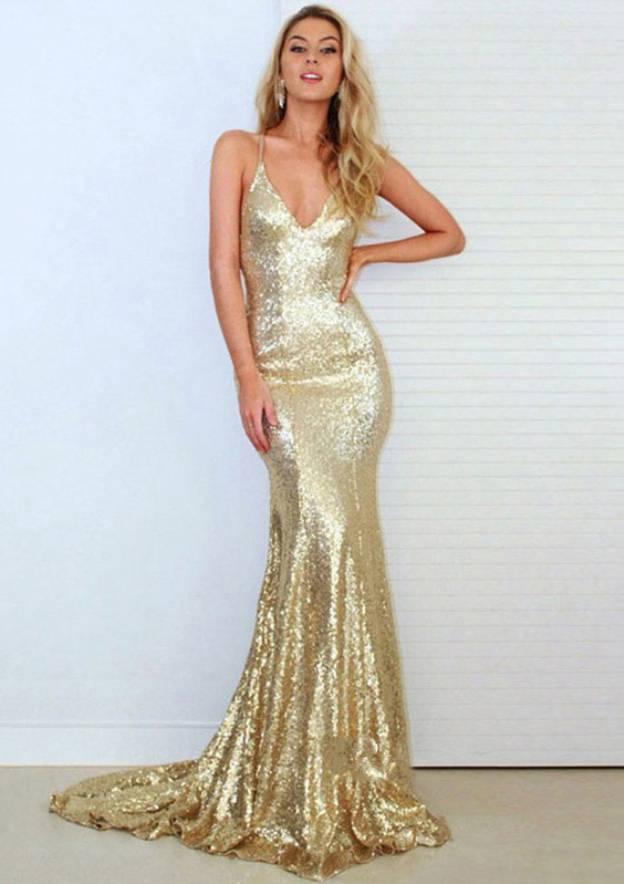Trumpet/Mermaid V Neck Sleeveless Court Train Sequined Prom Dress