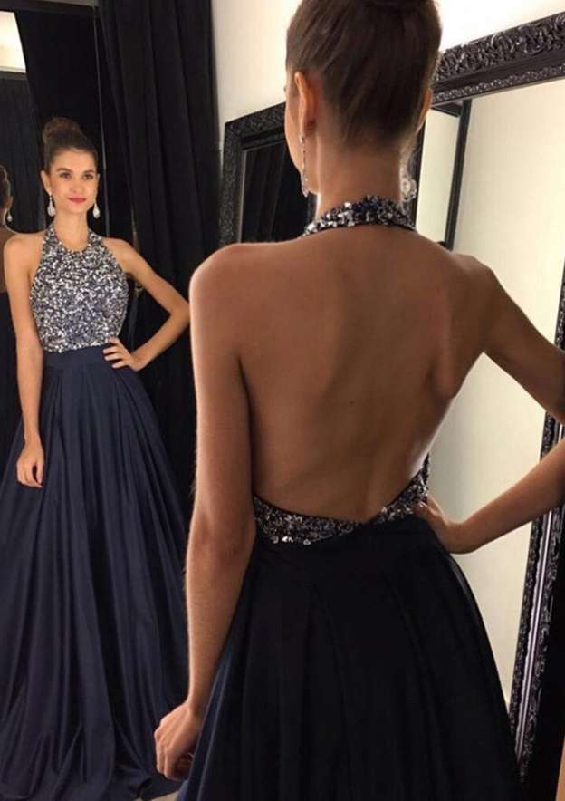 A-Line/Princess Halter Sleeveless Long/Floor-Length Satin Prom Dress With Beading