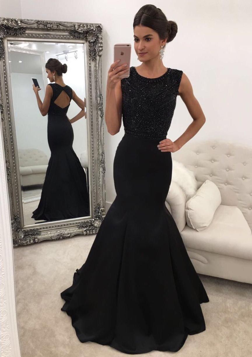 Trumpet/Mermaid Scoop Neck Sleeveless Sweep Train Satin Prom Dress With Beading