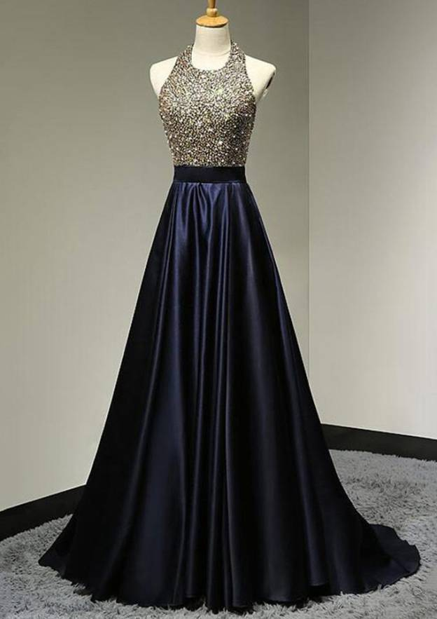A-Line/Princess Halter Sleeveless Sweep Train Charmeuse Prom Dress With Beading