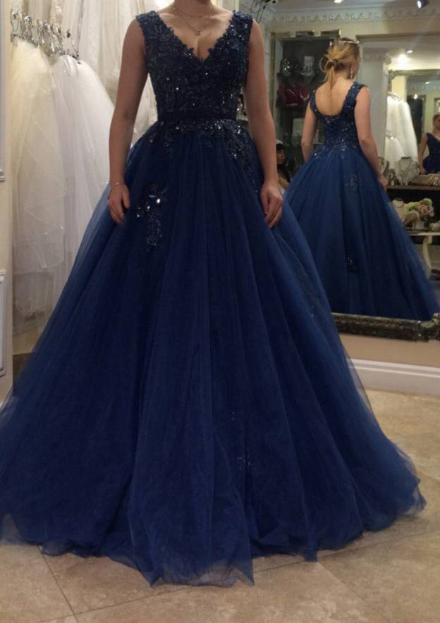 Ball Gown V Neck Sleeveless Long/Floor-Length Tulle Prom Dress With Beading Appliqued