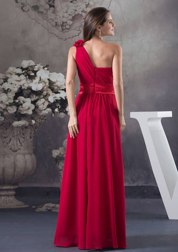 A-Line/Princess One-Shoulder Sleeveless Long/Floor-Length Chiffon Prom Dress With Flowers Pleated