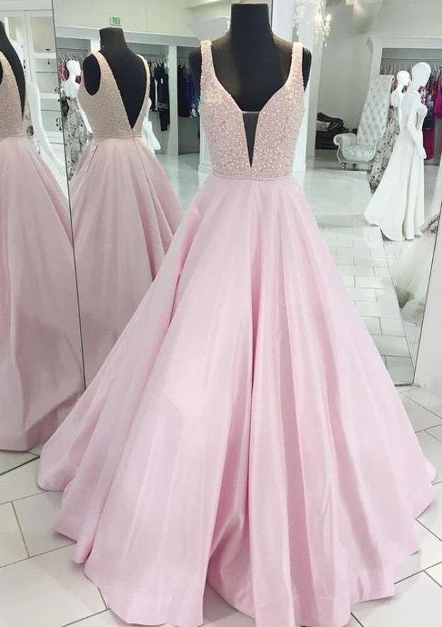 Ball Gown V Neck Sleeveless Long/Floor-Length Satin Prom Dress With Beading