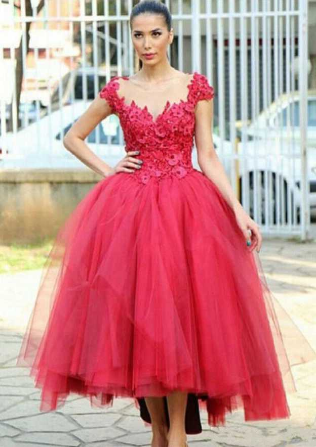 Ball Gown Sweetheart Sleeveless Tea-Length Tulle Prom Dress With Appliqued