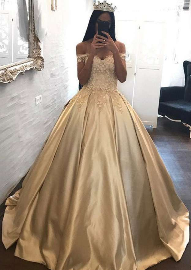 Ball Gown Off-The-Shoulder Sleeveless Sweep Train Taffeta Prom Dress With Beading Appliqued