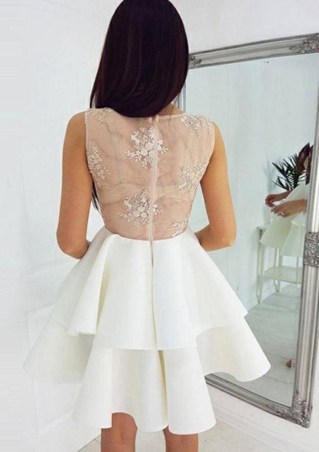 A-Line/Princess V Neck Sleeveless Short/Mini Elastic Satin Homecoming Dress With Appliqued Ruffles