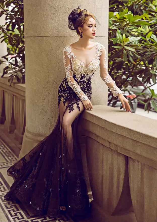 Trumpet/Mermaid Bateau Full/Long Sleeve Sweep Train Tulle Prom Dress With Lace