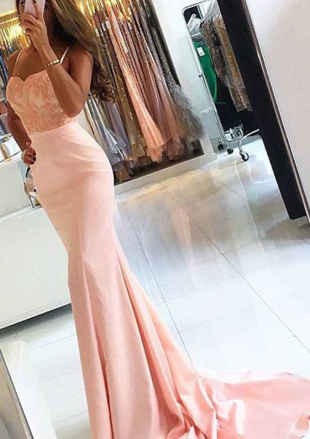 Trumpet/Mermaid Sweetheart Sleeveless Sweep Train Charmeuse Prom Dress With Appliqued