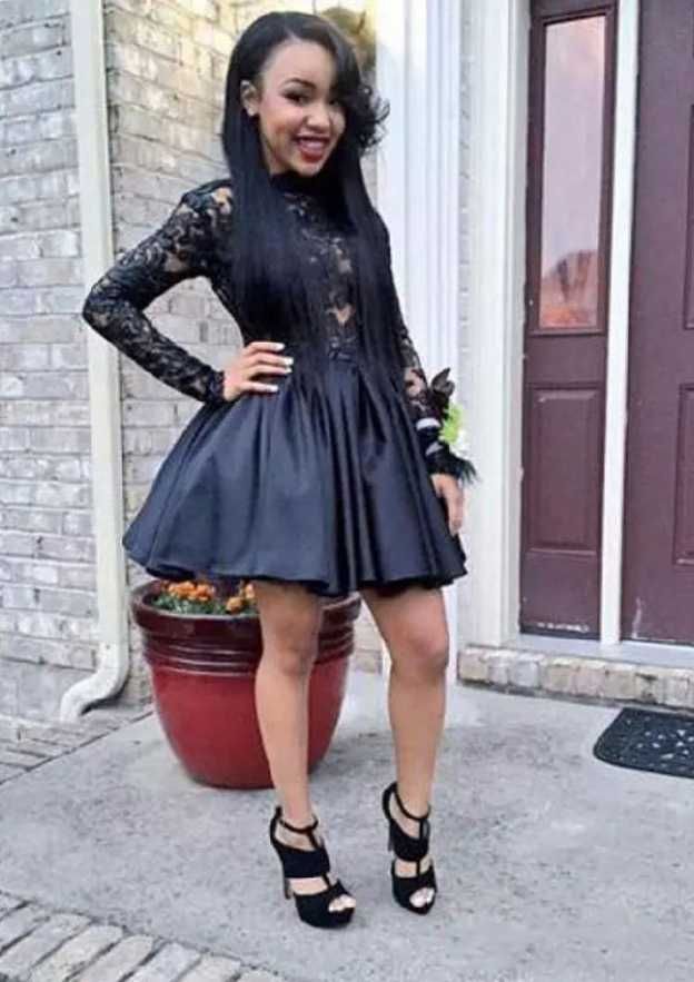A-Line/Princess Bateau Full/Long Sleeve Short/Mini Satin Homecoming Dress With Lace