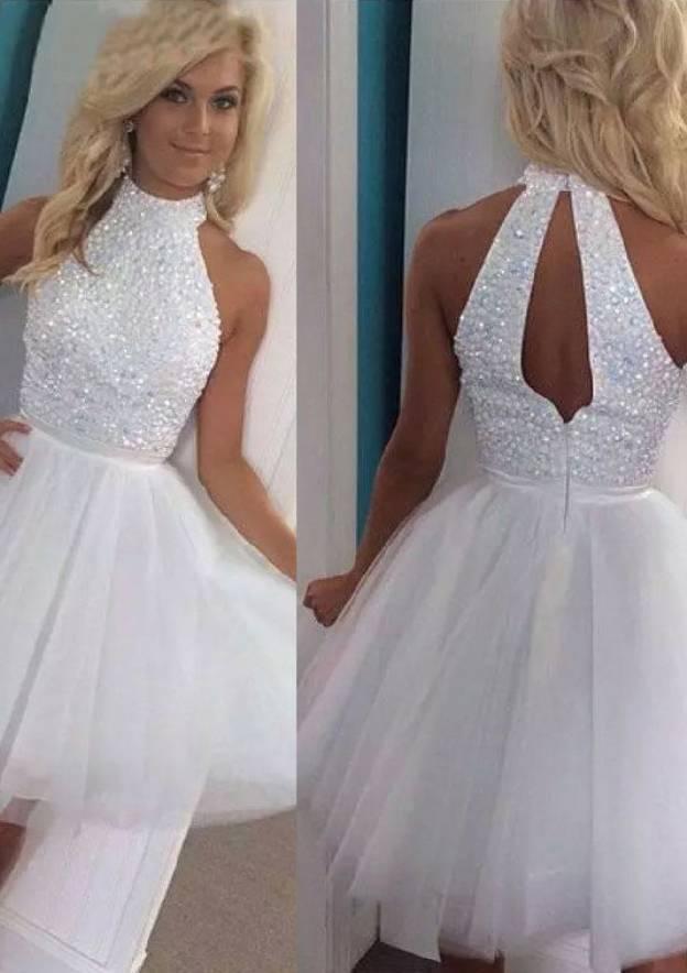 A-Line/Princess High-Neck Sleeveless Short/Mini Chiffon Tulle Homecoming Dress With Beading