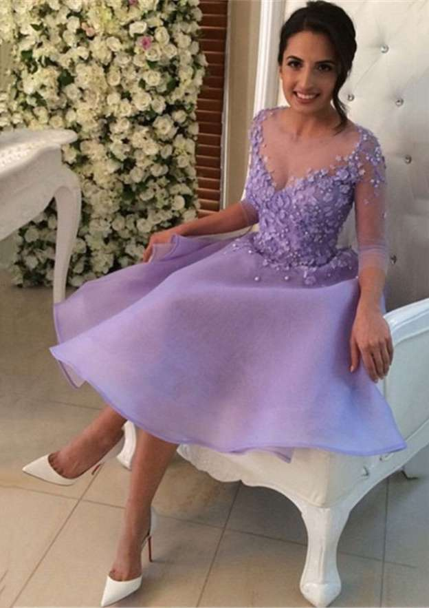 A-Line/Princess Scoop Neck 3/4 Sleeve Knee-Length Organza Homecoming Dress With Beading Appliqued