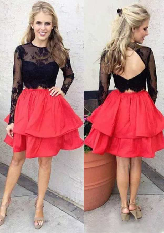 A-Line/Princess Scoop Neck Full/Long Sleeve Short/Mini Taffeta Homecoming Dress With Lace Appliqued