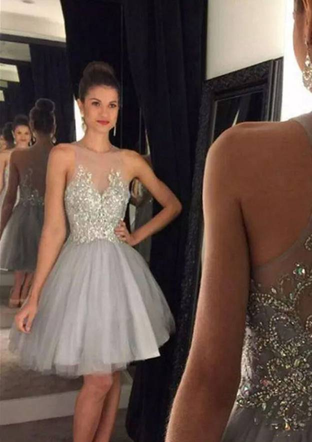 A-Line/Princess Scoop Neck Sleeveless Knee-Length Tulle Homecoming Dress With Beading