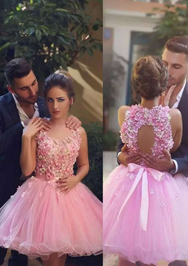 Ball Gown Scalloped Neck Sleeveless Short/Mini Organza Homecoming Dress With Sashes Flowers