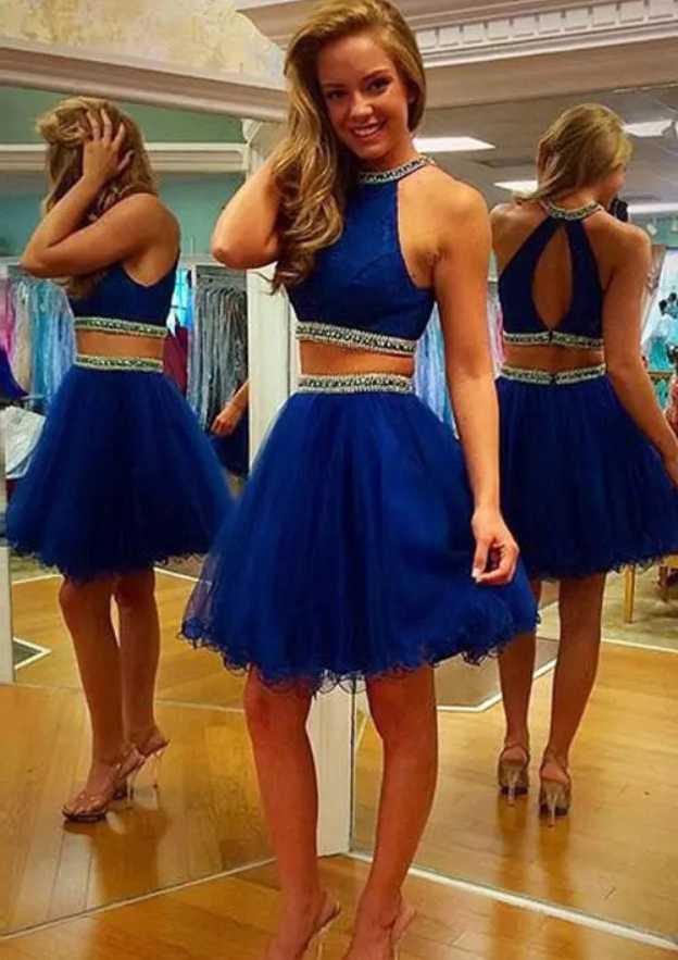 A-Line/Princess Scoop Neck Sleeveless Short/Mini Organza Homecoming Dress With Beading