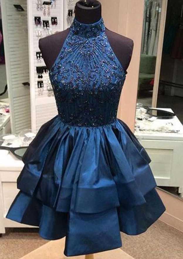 A-Line/Princess High-Neck Sleeveless Short/Mini Taffeta Homecoming Dress With Appliqued Beading
