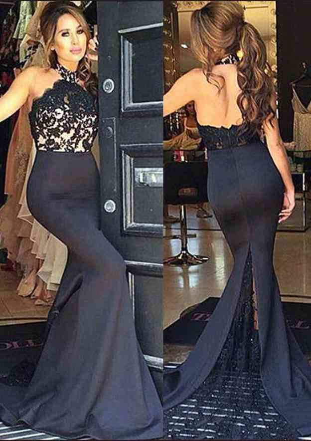 Trumpet/Mermaid Halter Sleeveless Sweep Train Elastic Satin Prom Dress With Lace