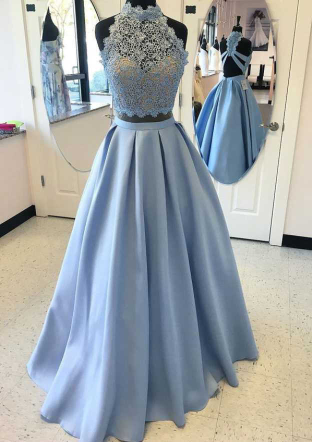 A-Line/Princess High-Neck Sleeveless Long/Floor-Length Satin Prom Dress With Lace