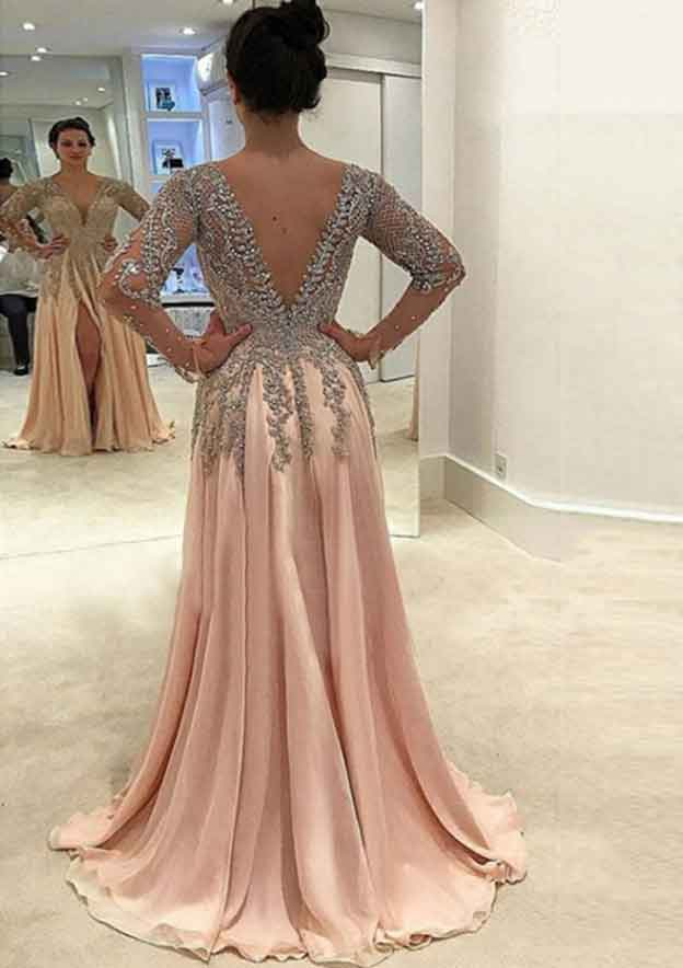A-Line/Princess V Neck Full/Long Sleeve Sweep Train Chiffon Prom Dress With Split Appliqued Beading