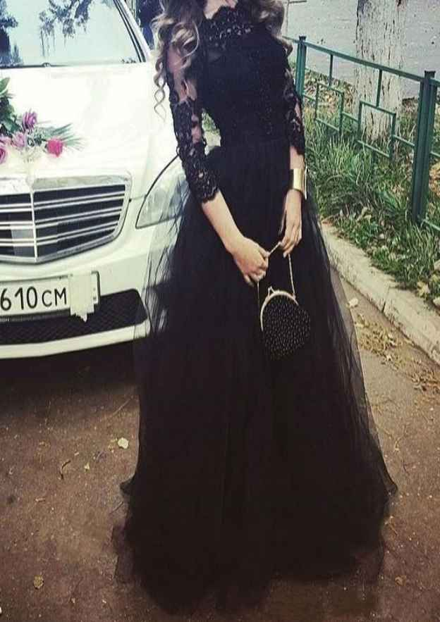 A-Line/Princess Scalloped Neck 3/4 Sleeve Long/Floor-Length Tulle Prom Dress With Lace