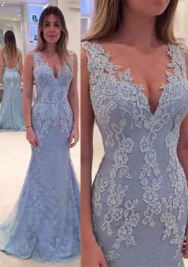 Trumpet/Mermaid V Neck Sleeveless Sweep Train Lace Prom Dress With Appliqued