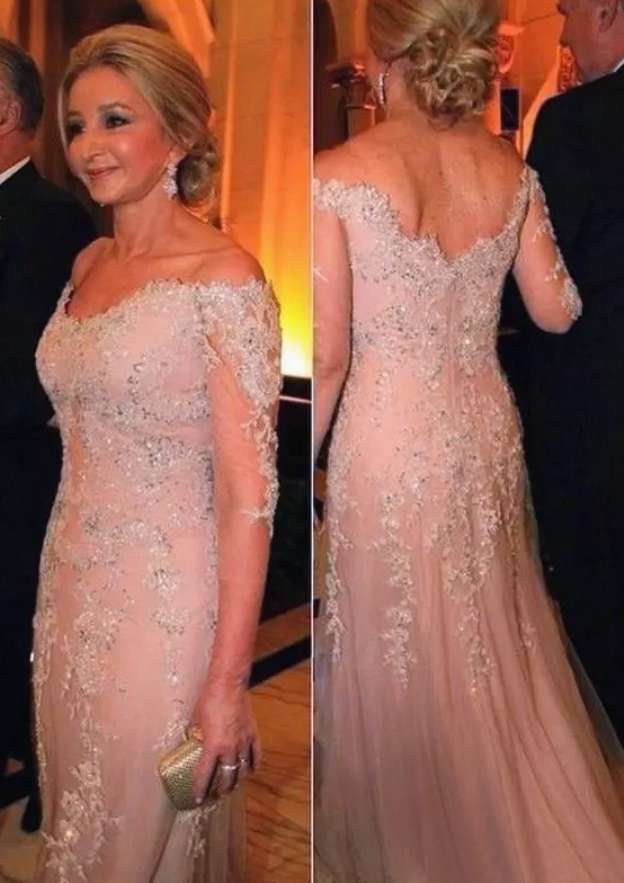 Sheath/Column Off-The-Shoulder Half Sleeve Long/Floor-Length Tulle Mother Of The Bride Dress With Beading Appliqued