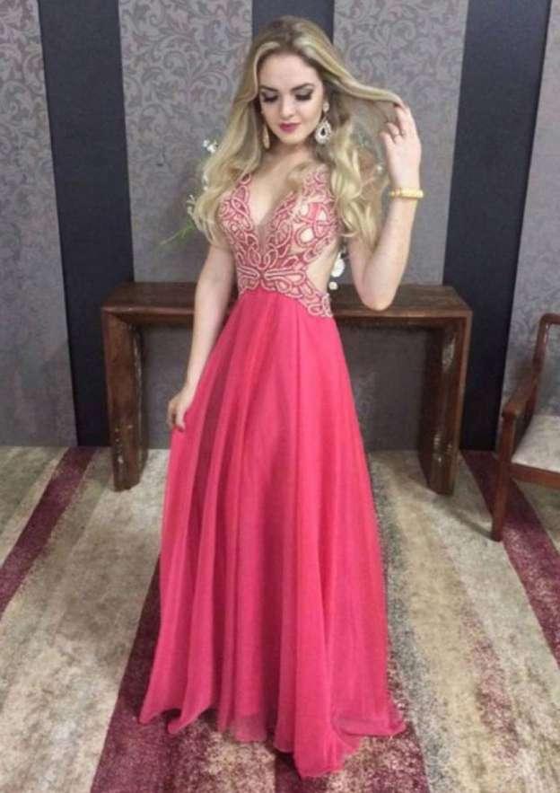 A-Line/Princess V Neck Sleeveless Long/Floor-Length Chiffon Prom Dress With Beading Appliqued